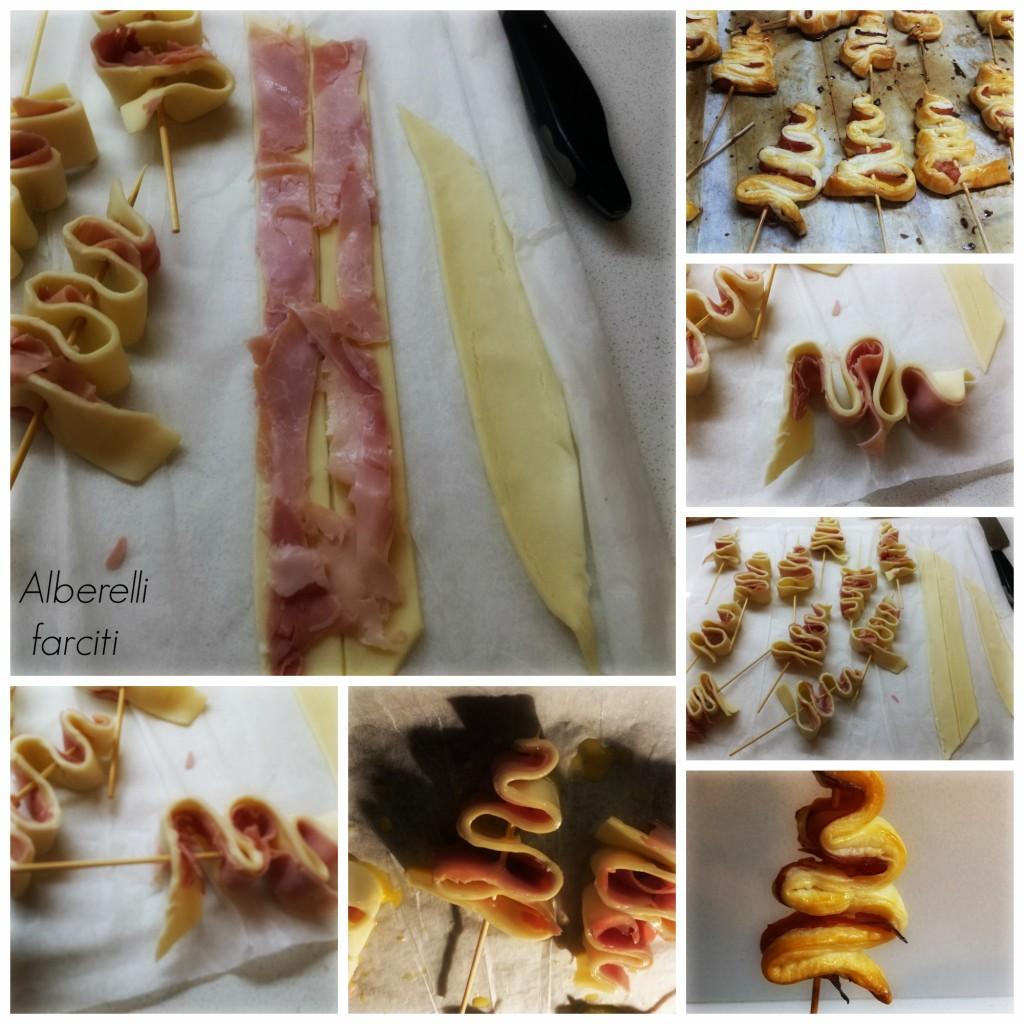 Collage Alberelli di pasta sfoglia farciti