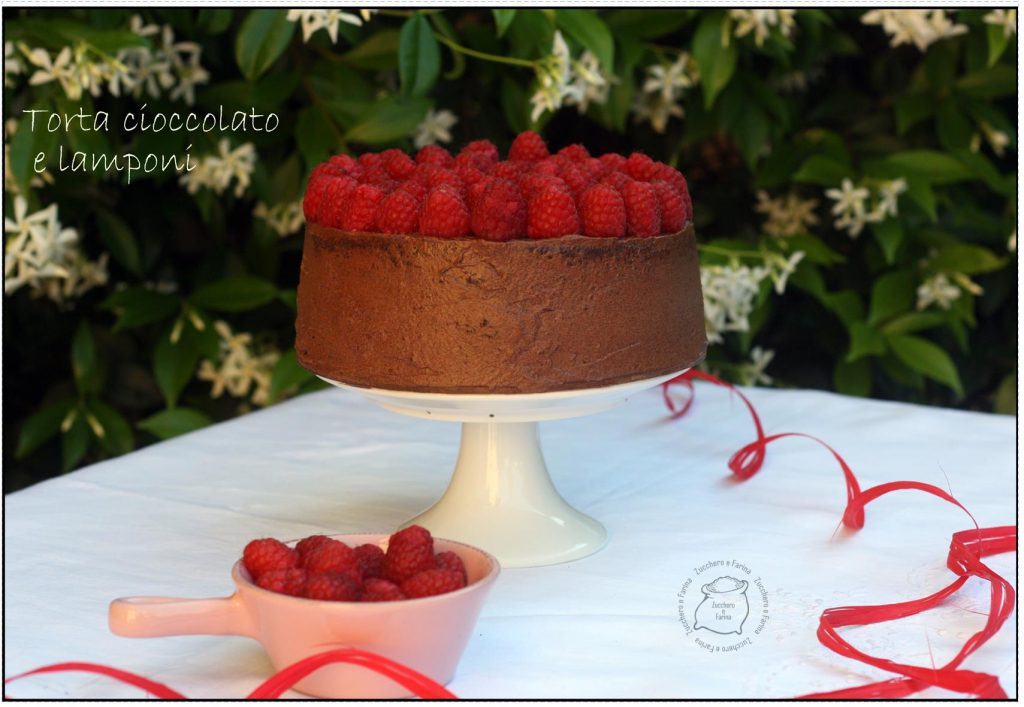 torta cioccolato e lamponi set